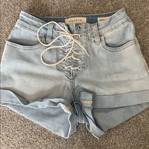 PACSUN high rise lace up denim shorts 24